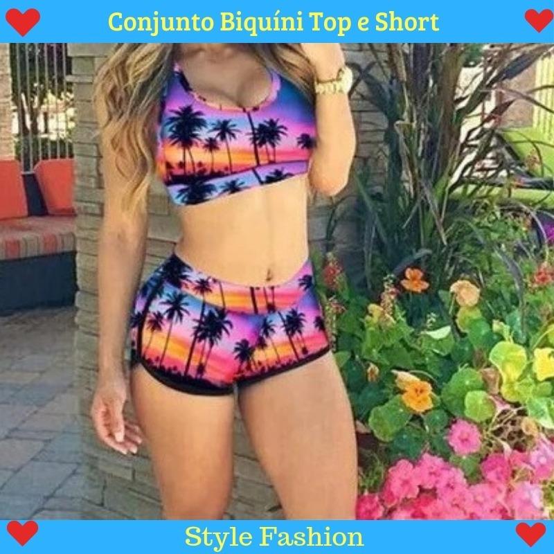 def026fae5a Conjunto Biquini Feminino Top E Short Moda Praia - R  79