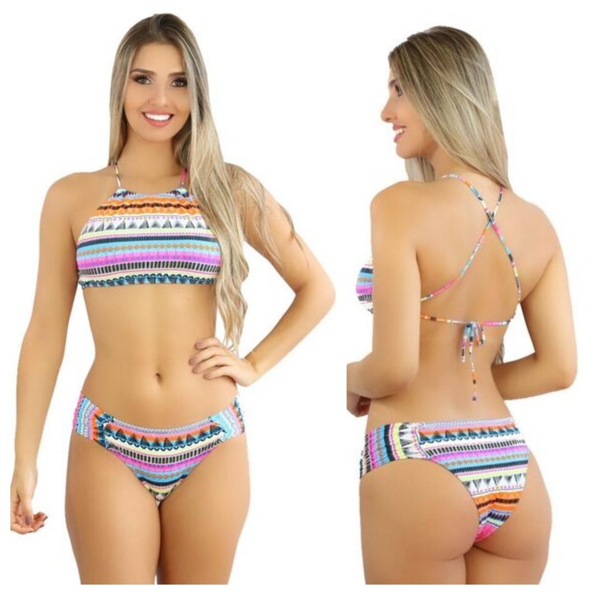 03071ee2c2a6b Biquíni Feminino Top Cropped Moda Praia 2017 2018 C10 - R  117,66 em ...