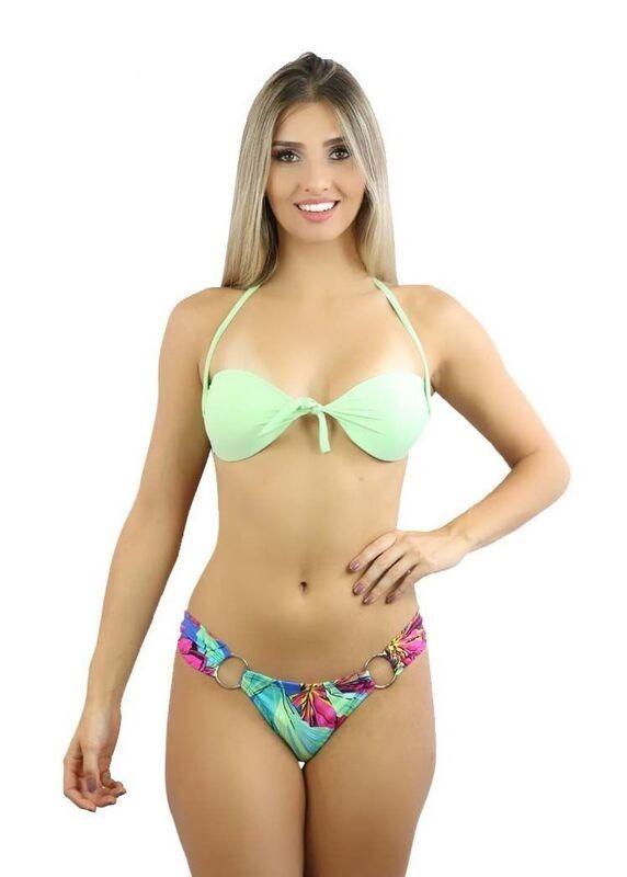eccb99fff Biquíni Estampado Amarração Cintura Baixa Moda Praia Y3 - R$ 72,00 ...