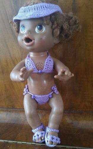 biquíni para baby alive lilás com viseira em crochê