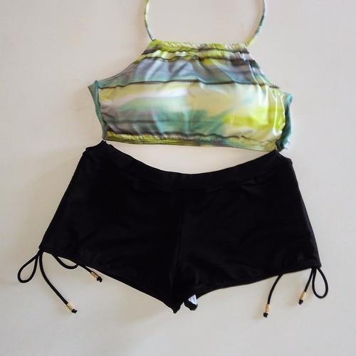 biquíni shortinho sunkini com top cropped moda 2018