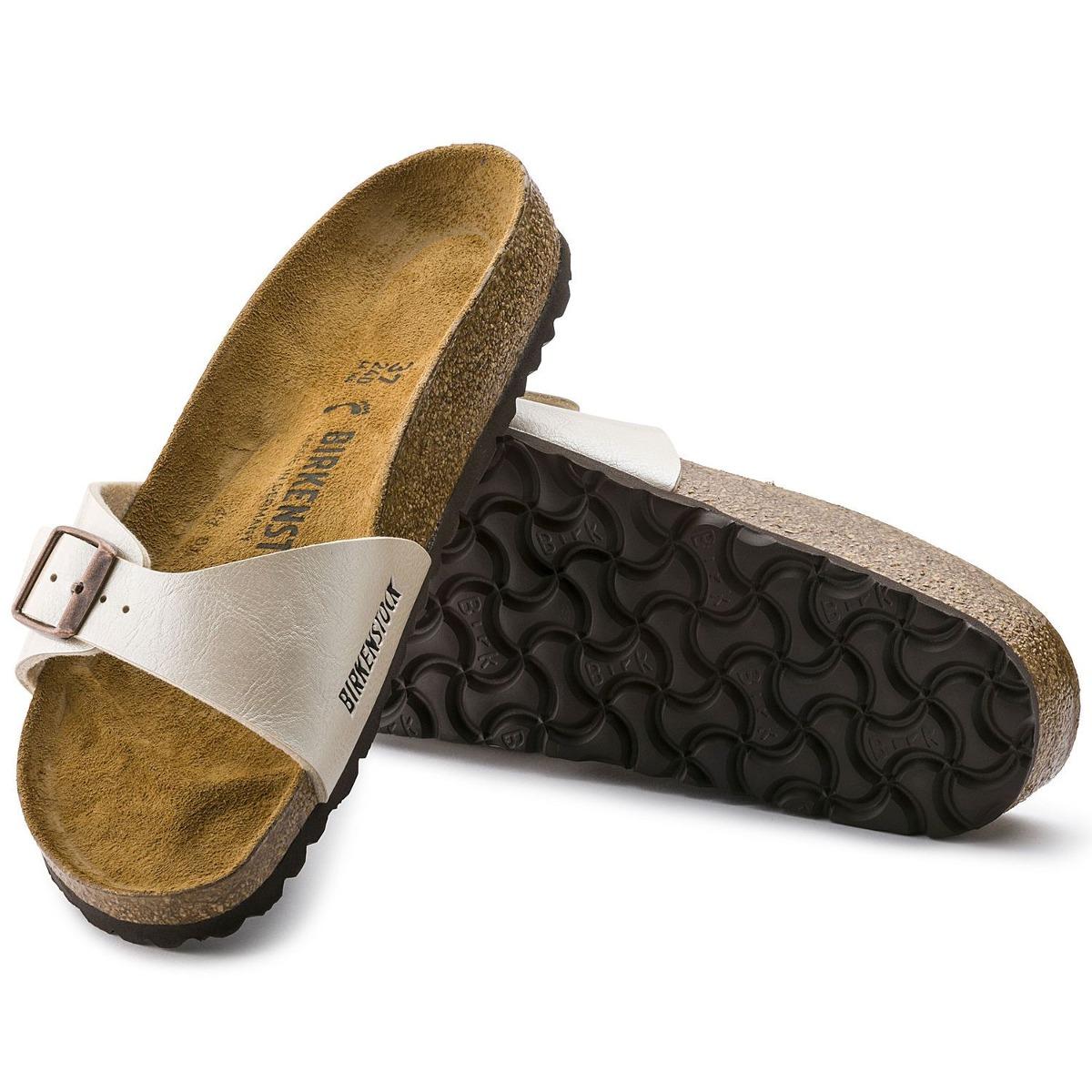 042d09432 birkenstock sandália madrid couro birko-flor narrow pérola. Carregando zoom.