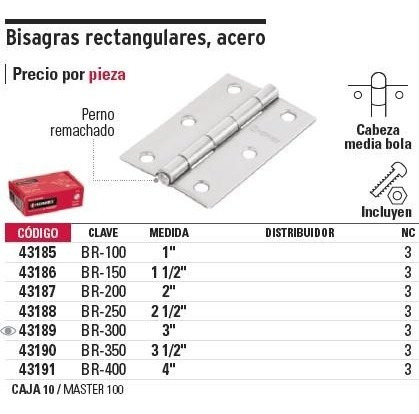 bisagra ace. pulido 2-1/2'' x 1-5/8'' hermex 43188