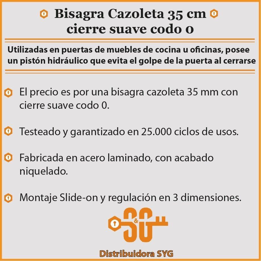 Bisagra Cierre Suave Codo 0 Puerta Mueble Cocina 35 Mm - $ 200,00 en ...