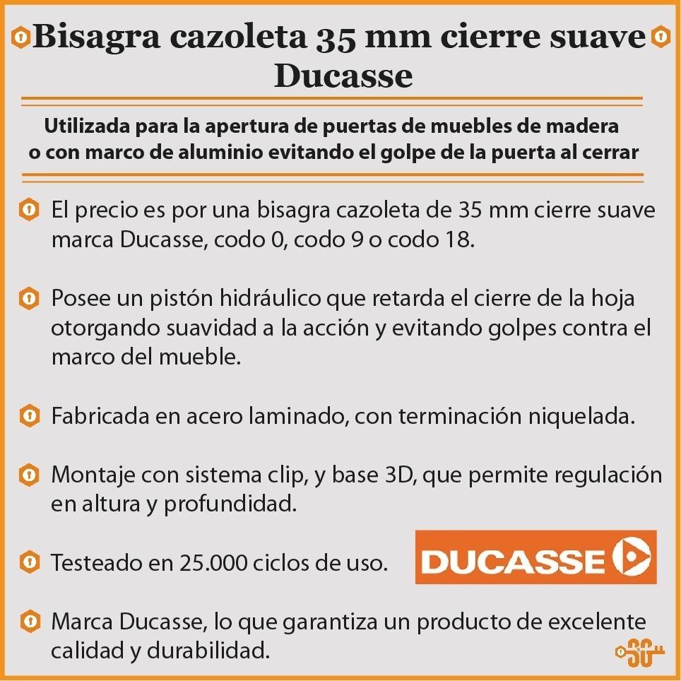 Bisagra Cierre Suave Ducasse Puerta Mueble De Cocina - $ 74,00 en ...