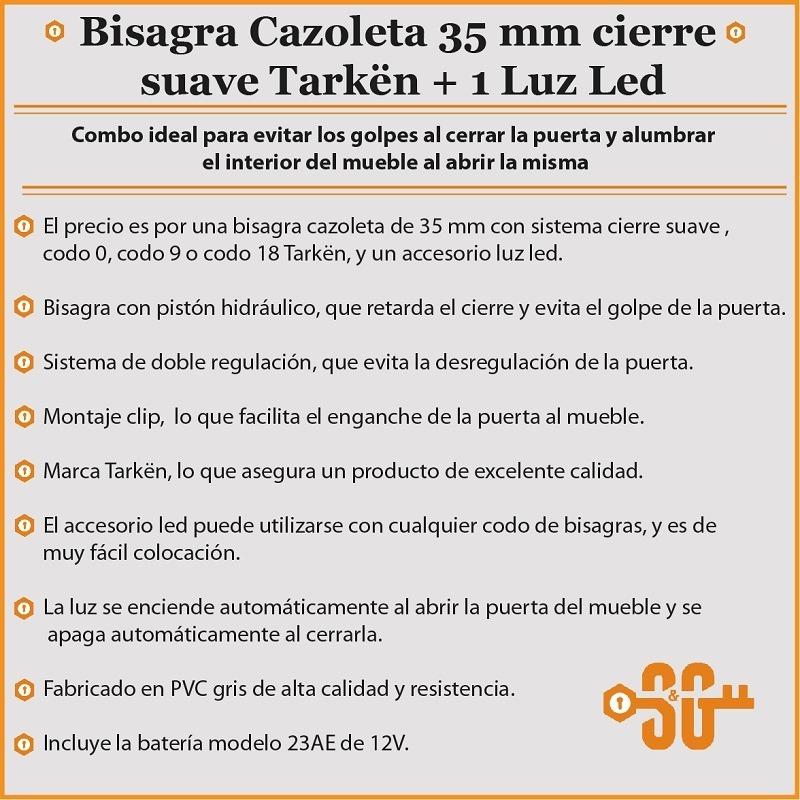 Bisagra Cierre Suave + Luz Led Para Puerta Mueble Cocina - $ 108,00 ...