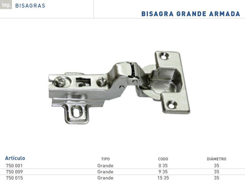 Bisagra Grande 35mm Codo 0, 9 Y 15 Herrajes Muebles Cocina - $ 16,65 ...