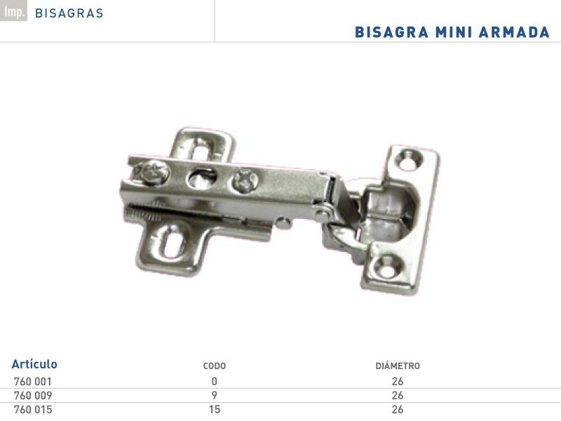 Bisagra Mini 26mm Codo 0, 9 Y 15 Herrajes Muebles Cocina - $ 9,90 en ...