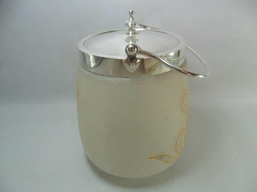 biscoiteira de vidro jateado com banho de prata
