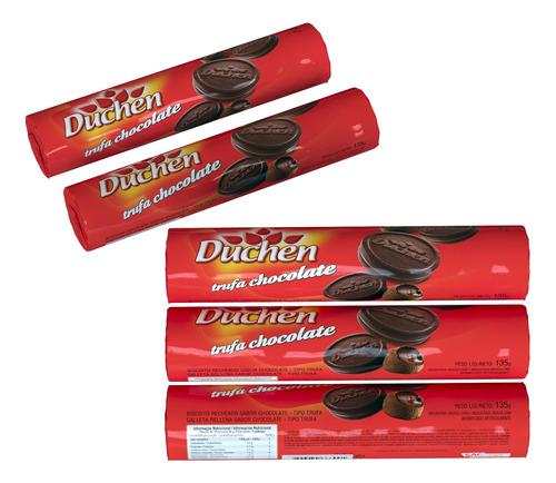 biscoito recheado duchen trufa chocolate 135g 25 unidades