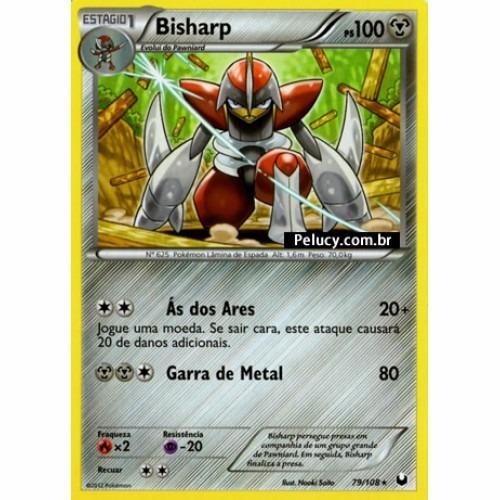 bisharp - pokémon metal raro - 79/108 - pokemon card game