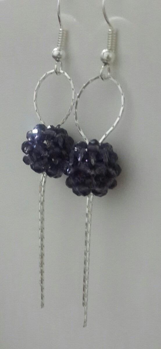 bisuteria, aretes largos con bola de cristales y cadena