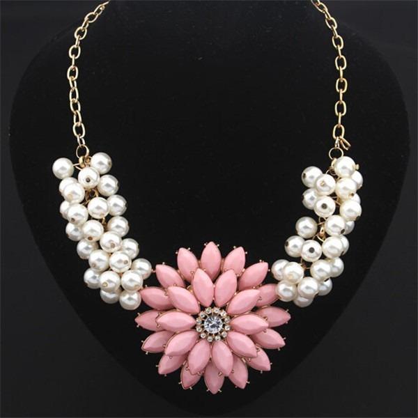 d52a645e8986 Bisuteria Collares Moda Vintage Dorado Perlas Flor Rosa -   185.00 ...