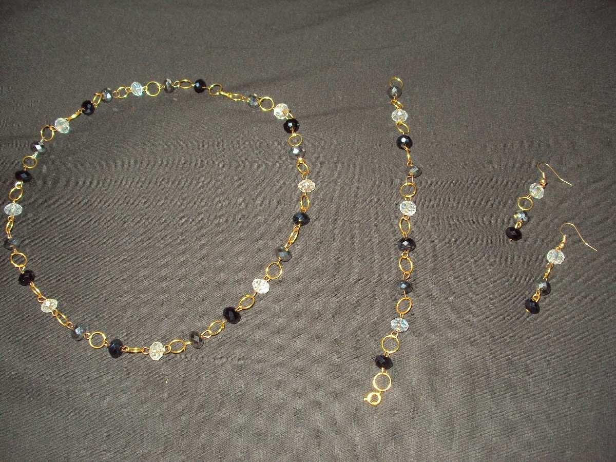 bisuteria fina elegante collar zarcillos pulsera en cristal