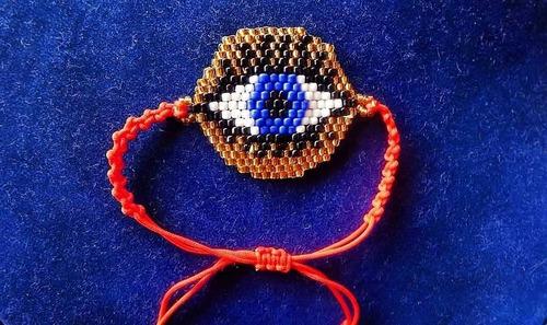 bisuteria ojo turco en circulo estilo miyuki. mayor y detal