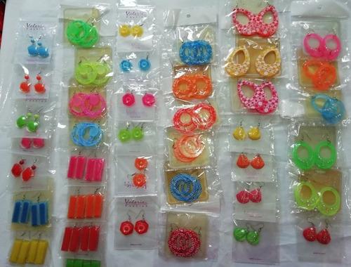bisutería zarcillos plásticos ¡¡¡bellos colores!!! (kits: 6)