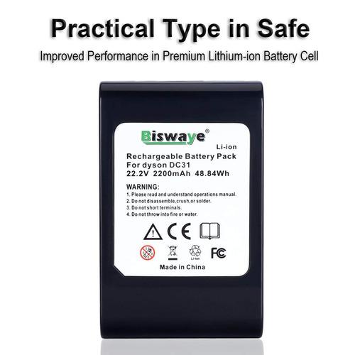biswaye 22.2v 2.2ah 2200mah litio batería para dyson 22.2v