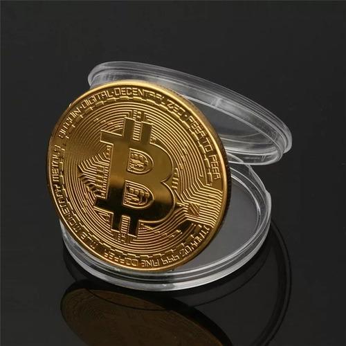 bitcoin 2 monedas dorada y plateada de metal de collección