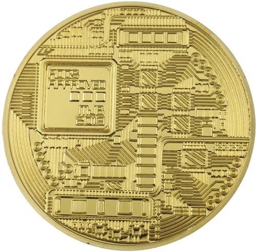 bitcoin moneda modelo one onza criptomoneda con capsula oro.