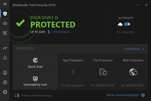 bitdefender total security 2018 1 equipo x 1 año + 5 meses