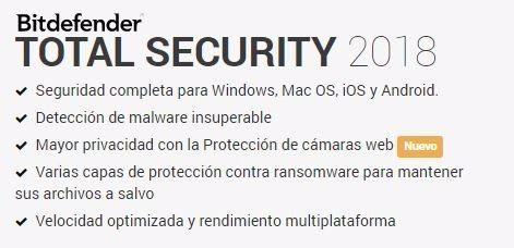 bitdefender total security antivirus 5 dispositivo 2 años