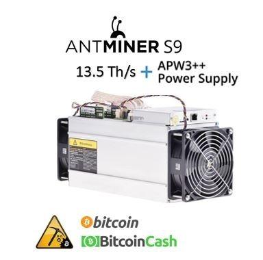 bitmain antminer s9 13.5 ths con fuente nuevo