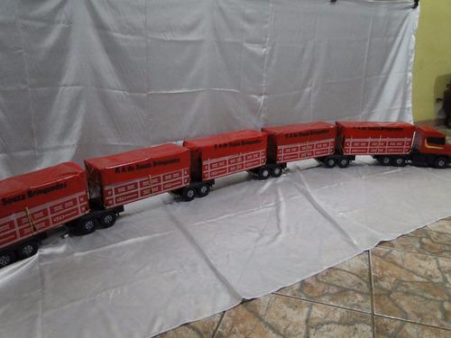 bitrem miniatura brinquedo scania 5 carretas muito comprido