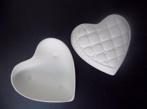 bizcocho para pintar al horno o al frío: joyero- corazón