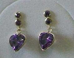 bk. jóias par de brinco coração em zircônia em ouro 18k