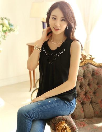 bl1067 blusa de rosas negra - it girls colombia