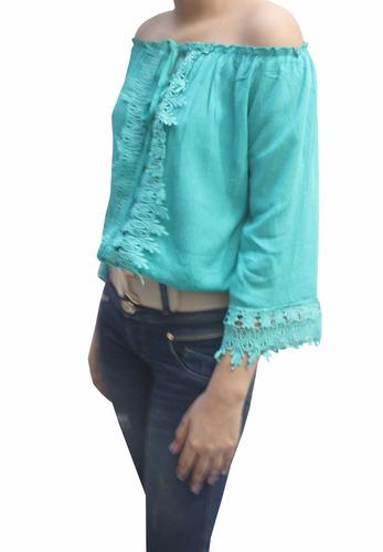 bl1221 blusa guipiure verde - it girls colombia