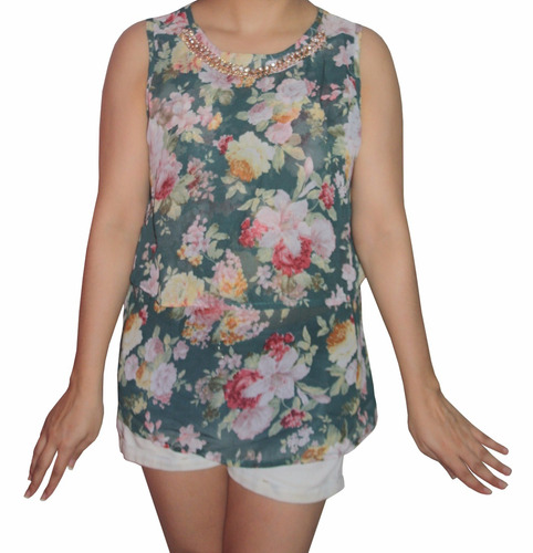 bl1246 blusa verde estampada - somos it girls