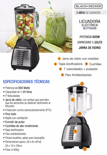 black and decker blp7600b /7velocidades/1.2lts/750w