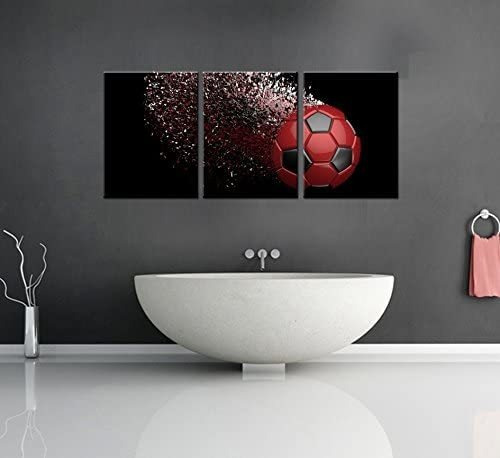 black and red soccer football wall art paintings poster...