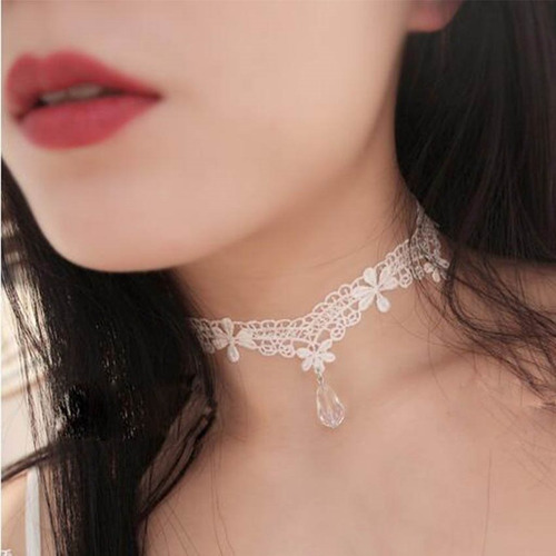 black choker necklace tecido renda kit c/5 colares