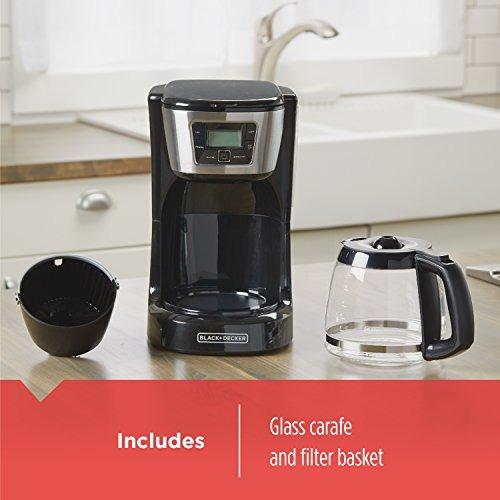 black decker 12 tazas cafetera programable, negro y acero in