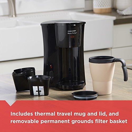 black decker brew 'n go personal cafetera con taza de viaje,