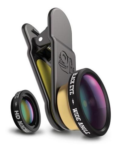 black eye kit lente para celulares gran angular + hd macro
