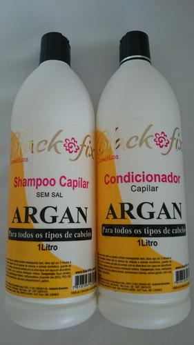 black fix shampoo argan 1litro + condicionador argan 1litro