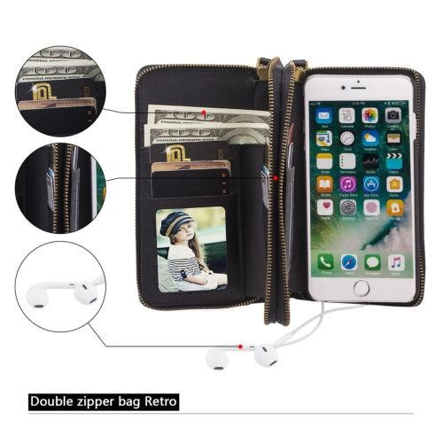 dd2e795e2ab Black - For iPhone 7 Plus - Multifunción Cartera Cuero -1298 ...