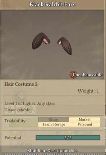 black habbit ears- item tree of savior (tos) [sa] silute hat