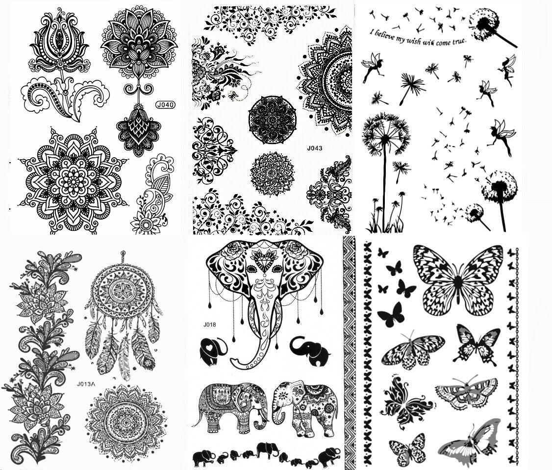 Black Henna Body Paints Diseños De Tatuajes Temporales Paq