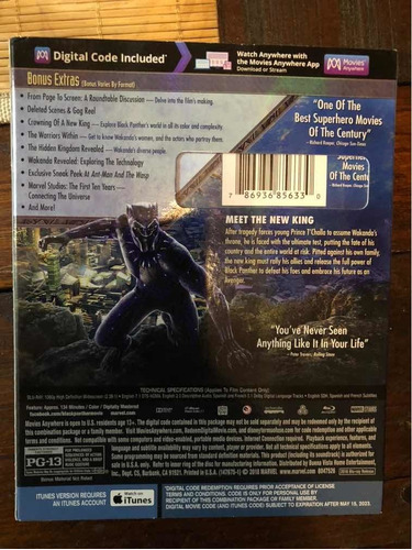 black panther blu-ray con slipcover impecable