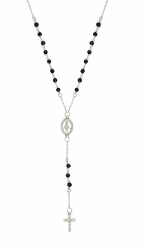 black spinel rosary necklace 18  + 2