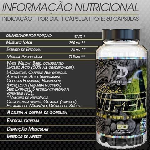 Black Viper 60 Cap - Dragon Pharma / Nutrex / Oxyelite - R$ 139,90 ...