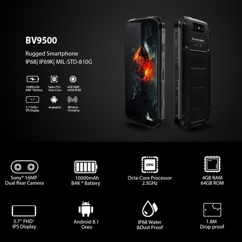 blackview bv9500 - 10.000mah año 2019 - resistente mejor blu