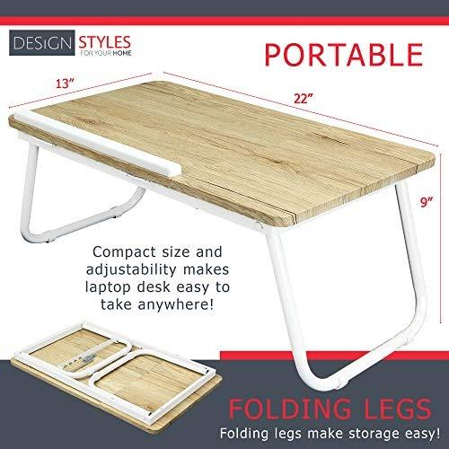 blanca plegable portátil lap desk - madera mesa de trabajo y