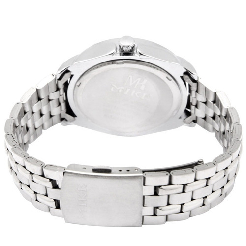 blanco dial cuarzo caballero reloj acero inoxidable 8115