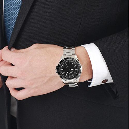 blanco dial cuarzo caballero reloj acero inoxidable 8132