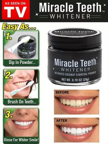 blanqueador dental pasta natural carbon miracle teeth 20grs